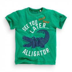 Футболка для мальчика, зеленая. Крокодил.