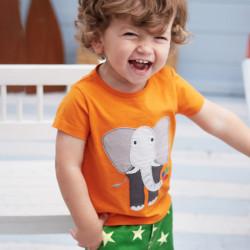 Футболка для мальчика, оранжевая. Слон.