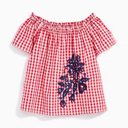 Футболка, блузка для девочки, красная. Цветы.