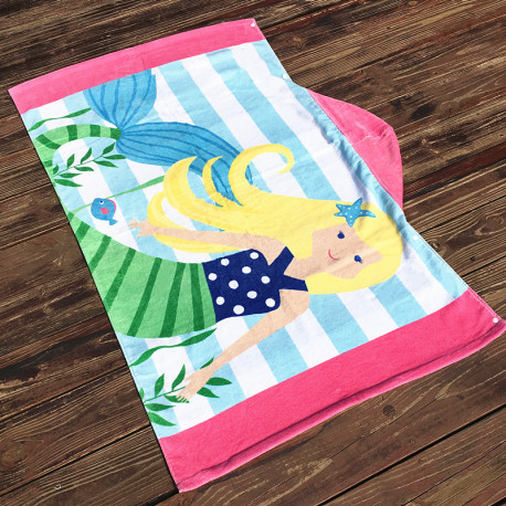 Полотенце махровое с капюшоном., для девочки. Русалка блондинка.