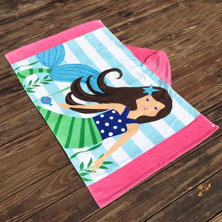 Полотенце махровое с капюшоном, для девочки. Русалка брюнетка.