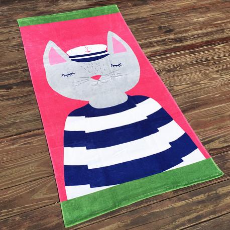 Полотенце махровое, розовое. Кошка.