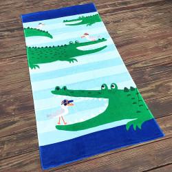 Полотенце махровое, зеленое. Крокодил. 160*80 см.