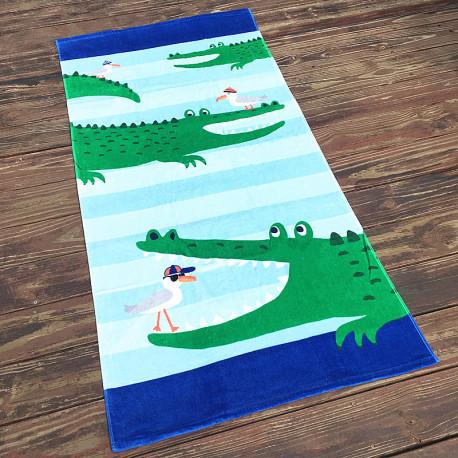Полотенце махровое, зеленое. Крокодил.