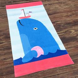 Полотенце махровое, розовое с голубым. Кит. 160*80 см.