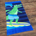 Полотенце махровое, зеленое с синим. Крокодил.