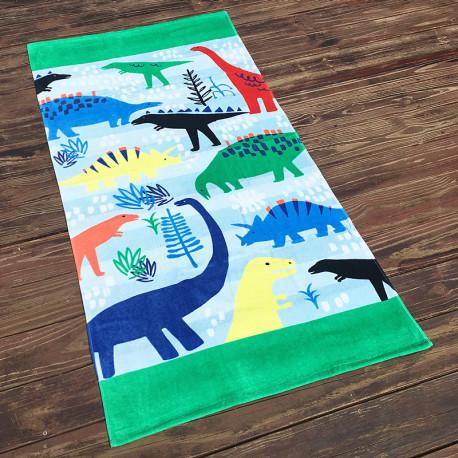 Полотенце махровое, бело зеленое. Динозавры. 160*80 см.