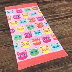 Полотенце махровое, детское, розовое. Кошки. 160*80 см.