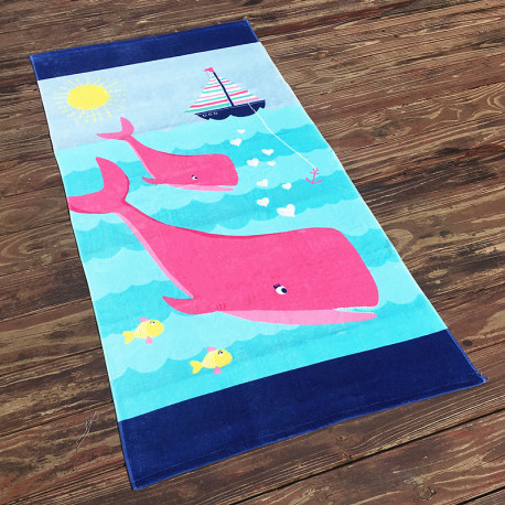 Полотенце махровое, детское, розовое. Два дельфина. 160*80 см.