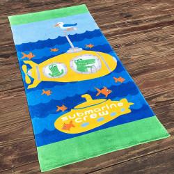 Полотенце махровое, детское, желтое. Подводная лодка. 160*80 см.