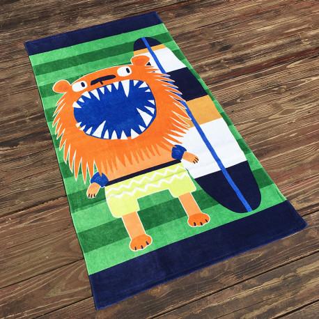 Полотенце махровое, детское, оранжевое. Лев. 160*80 см