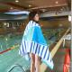 Полотенце махровое, детское, синее. Кит большой. 160*80 см