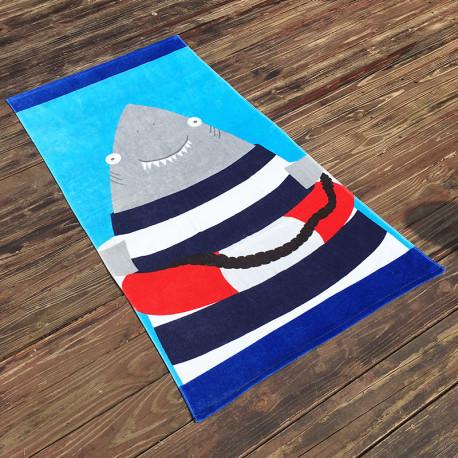Полотенце махровое, детское, голубое. Акула. 160*80 см