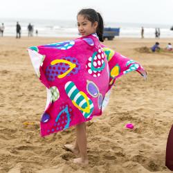 Полотенце махровое, детское, розовое. Шлепки. 150*75 см