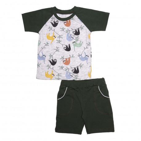 Комплект для мальчика, футболка и шорты, зеленый. Коала.