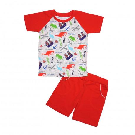 Комплект для мальчика, футболка и шорты, красный. Динозавры.