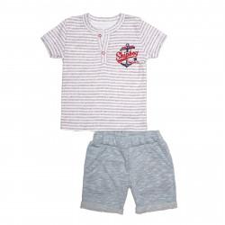 Комплект для мальчика, футболка и шорты, бирюза. Якорь.