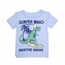 Футболка для мальчика, голубая. Динозавр.