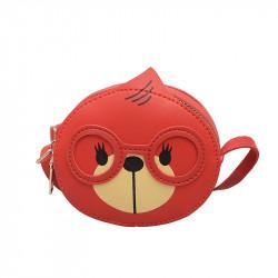 Сумка детская, для девочки, красная. Мишка.