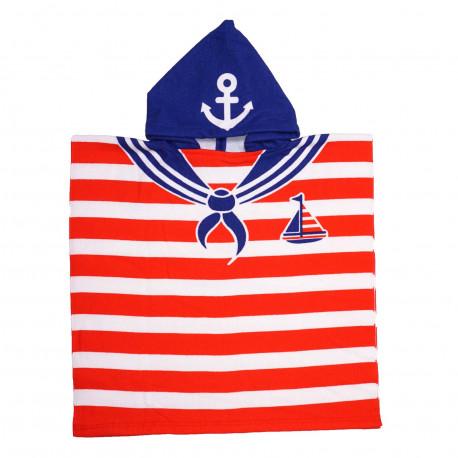 Полотенце пончо, красное с синим. Моряк. Микрофибра.