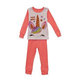 Пижама для девочки, коралл. Единорог.