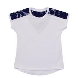 Блуза для девочки, белая с черным. Джулия.