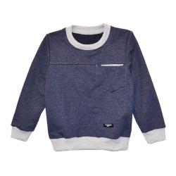 Джемпер для мальчика, с карманом и латками, синий.