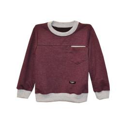 Джемпер для мальчика, с карманом и латками, бордовый.