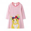 Платье для девочки, розовое. Котик в венке.