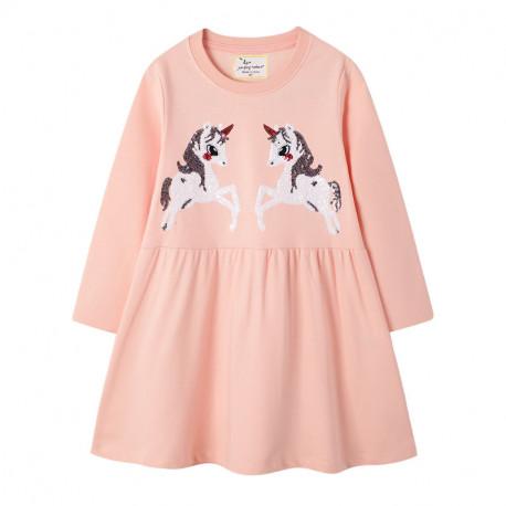 Платье для девочки, розовое. Белые единороги.