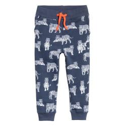 Штаны для мальчика, синие. Тигры.
