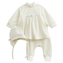 Нарядный комплект для девочки, велюр. Кофта, штанишки и шапочка.Молочный.
