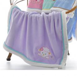 Плед детский, фиолетовый. 75*100 см. Овечка.