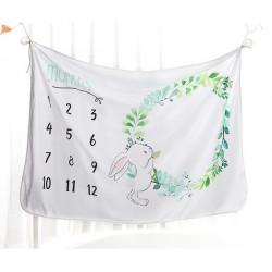 Детское одеяло, ростомер. Белое 102*152 см. Зайка.