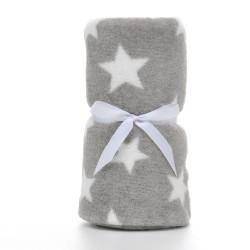 Плед детский, серый. 75*100 см. Крупная звездочка.
