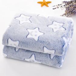 Плед детский, синий. 100*150 см. Звезды.