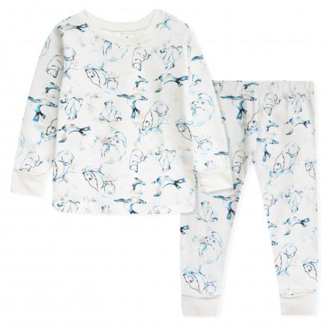 Пижама для девочки, белая. Полярные медведи.