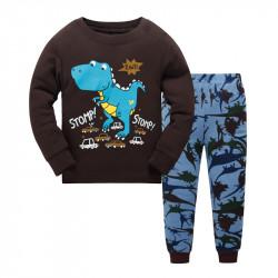 Пижама для мальчика, коричневая. Динозавр.