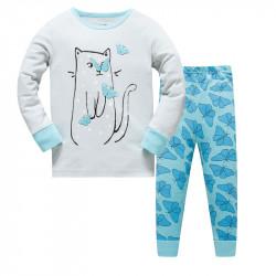 Пижама для девочки, мятная. Кошечка.