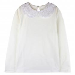 Блуза для девочки с кружевным воротником. Молочная