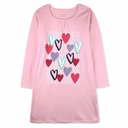 Ночная рубашка для девочки, розовая. Сердечки.