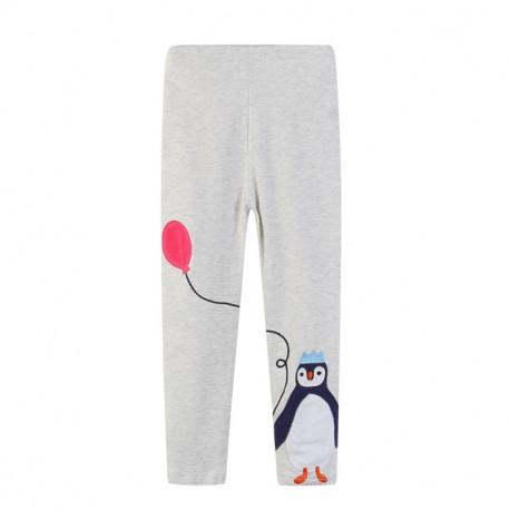 Леггинсы для девочки, серые. Пингвин.