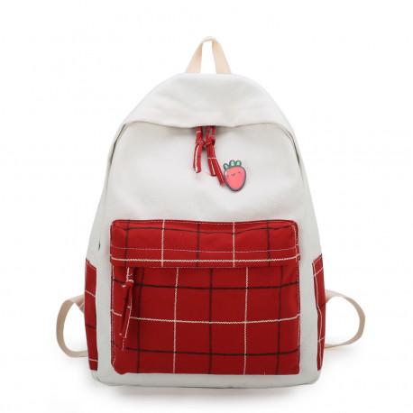 Рюкзак для девочки, спортивный, белый с красным.