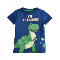 Футболка для мальчика, синяя. Тираннозавр Рекс.