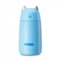 Термос детский, синий. Милый котик. 330 мл.