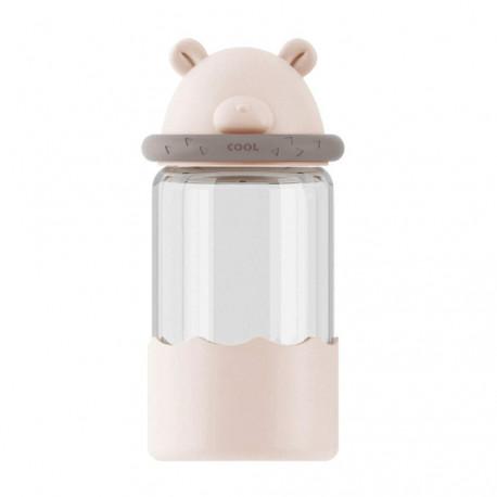 Бутылка стеклянная, бежевая. Медвежонок. 340 мл.