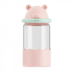 Бутылка стеклянная, розовая. Медвежонок. 340 мл.