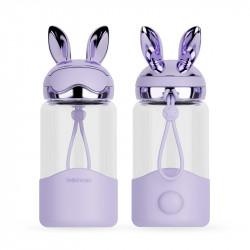 Бутылка стеклянная, фиолетовая. Заяц. 340 мл.