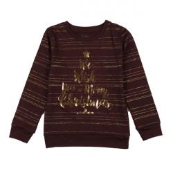 Джемпер для девочки, коричневый, новогодний.