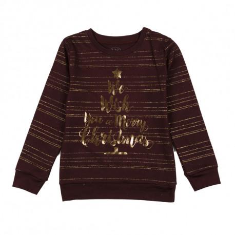Джемпер детский, коричневый, новогодний.